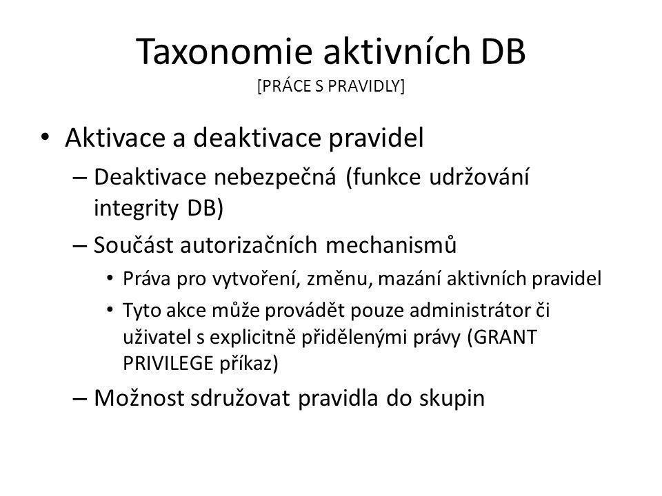 Taxonomie aktivních DB [PRÁCE S PRAVIDLY]